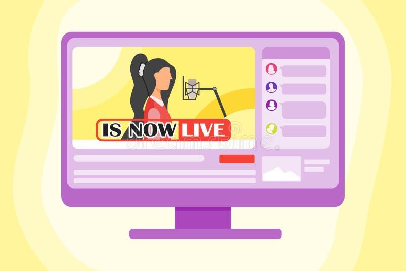 Live On The Internet di canto royalty illustrazione gratis