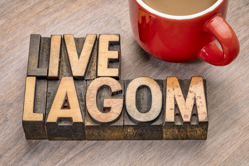 Live lagom word abstract in wood type royalty free stock photo