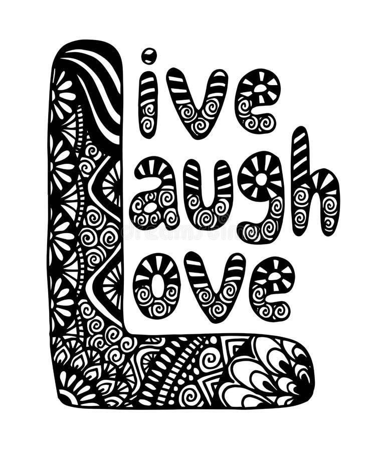 Live Laugh Love Hand Lettered-Woorden - Vectorillustratie stock illustratie