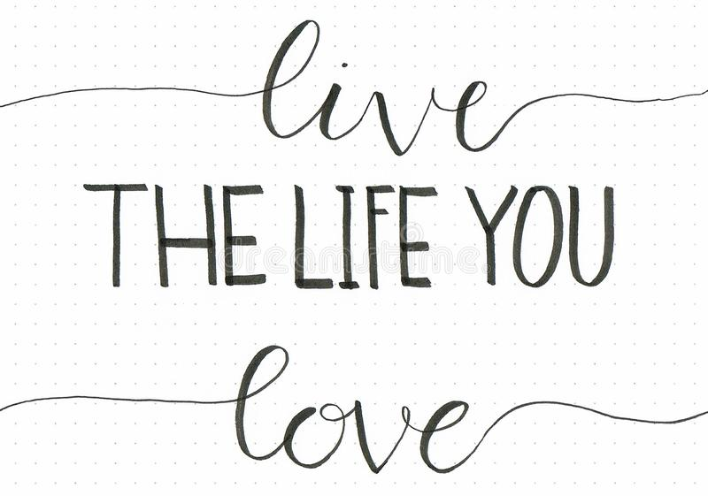 `Live The Life You Love` hand lettering phrase to motivate people to do what they love. Written with brush pen royalty free illustration
