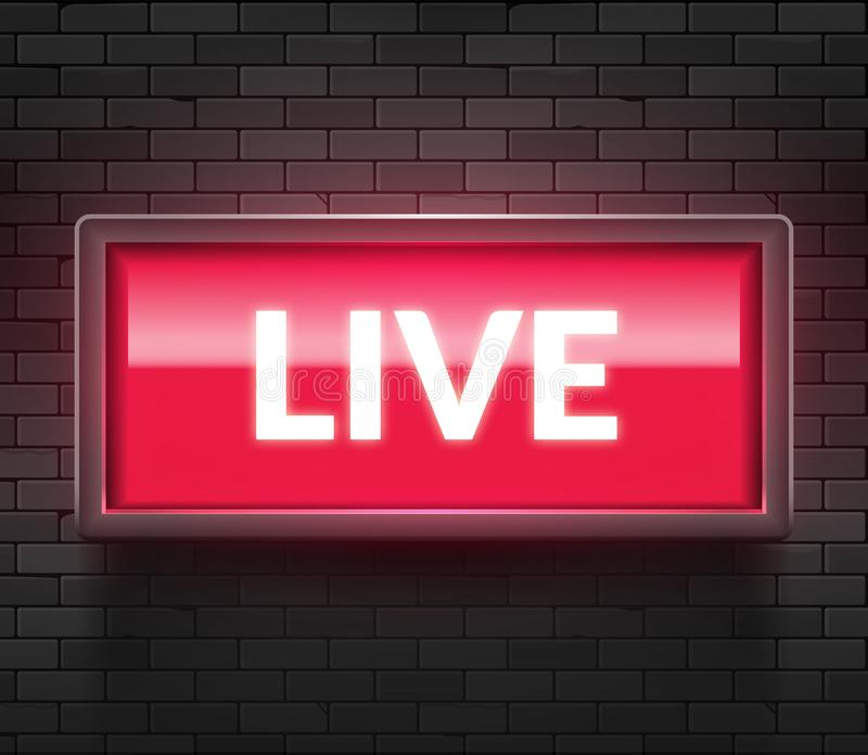 Live light broadcast sign. Tv radio studio live red box on air show icon royalty free illustration