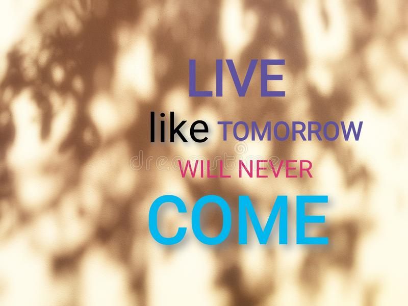 Live like tomorrow will never come. Quote on beige wall with shades of the tree. Quote for life royalty free stock photos