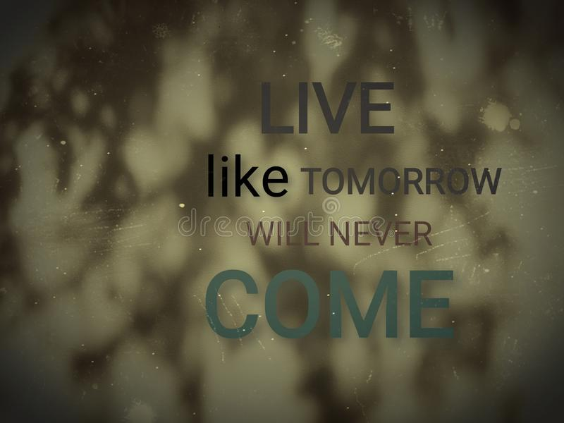 Live like tomorrow will never come. Quote on beige wall with shades of the tree. Quote for life stock images