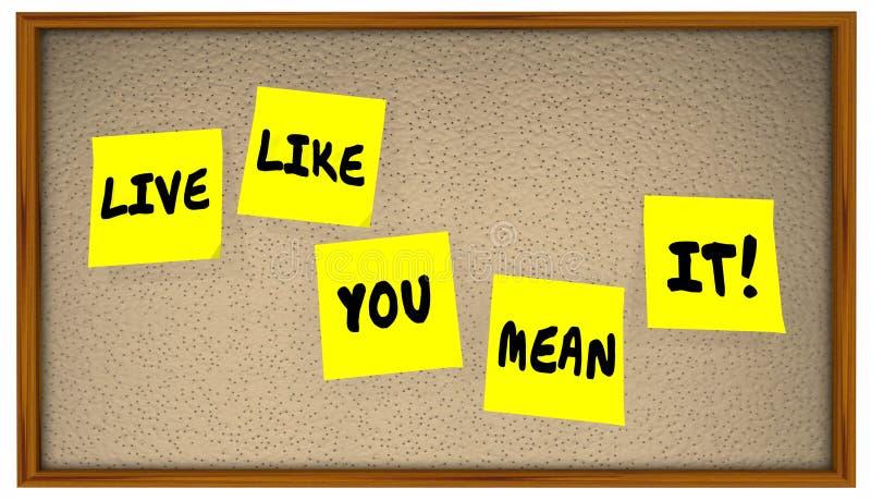 Live Like You Mean It klibbigt anmärkningsbräde 4K stock illustrationer