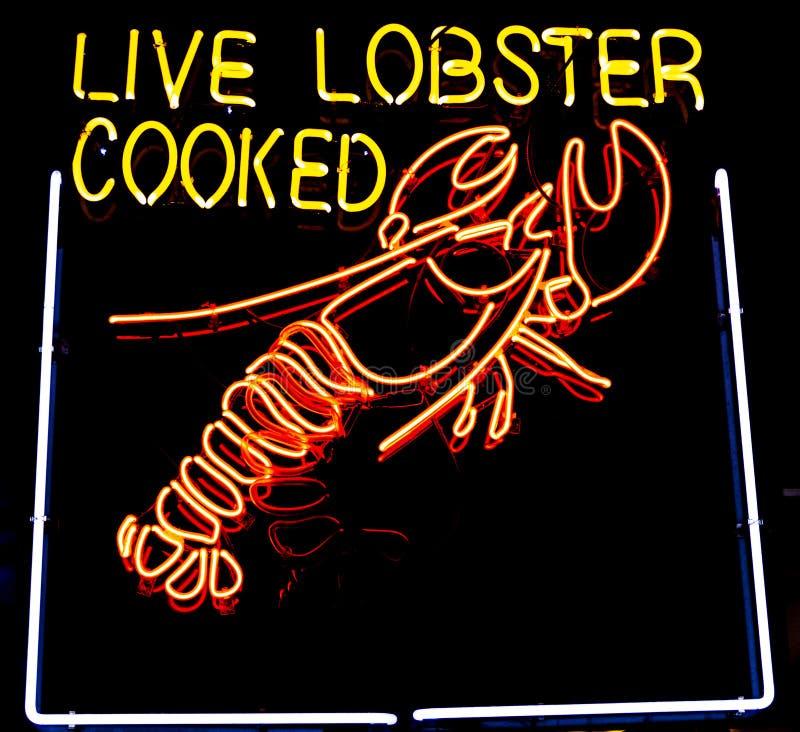 Live Lobster Sign de neón imágenes de archivo libres de regalías