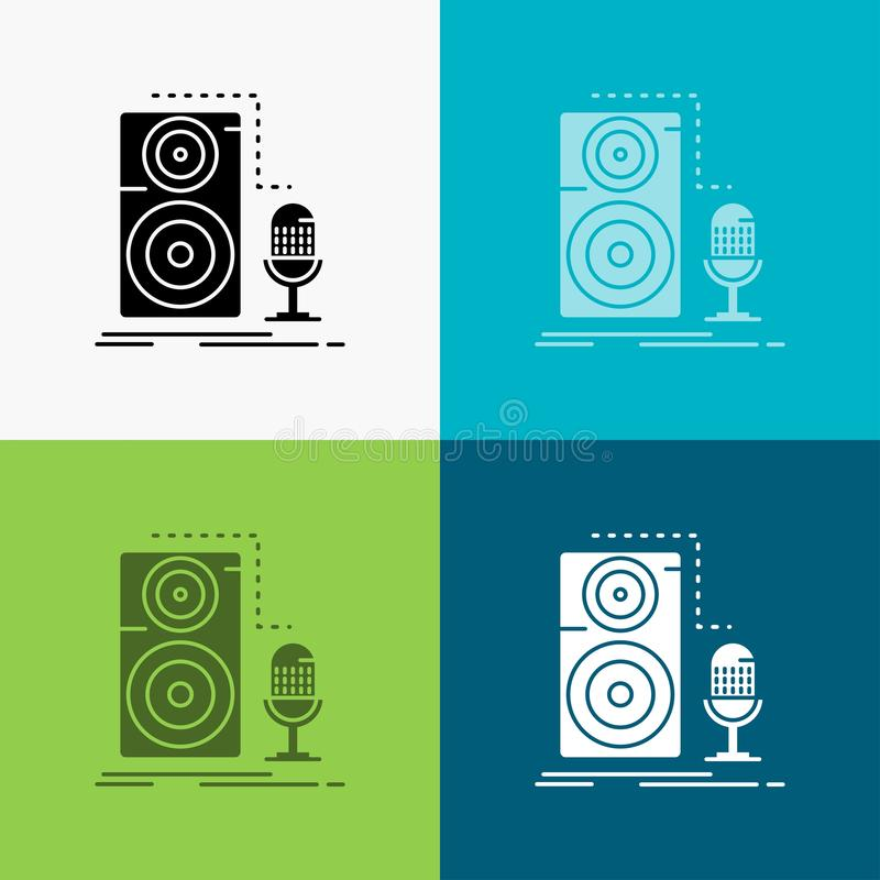 Live, mic, microphone, record, sound Icon Over Various Background. glyph style design, designed for web and app. Eps 10 vector vector illustration
