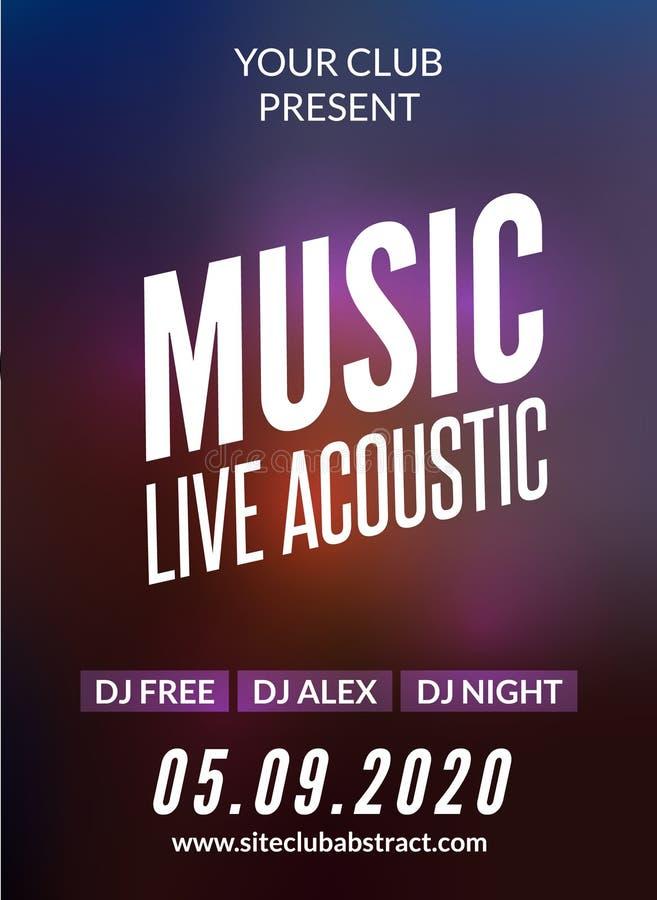 Live music acoustic poster design temple. Live show modern party dj invitation flyer stock illustration