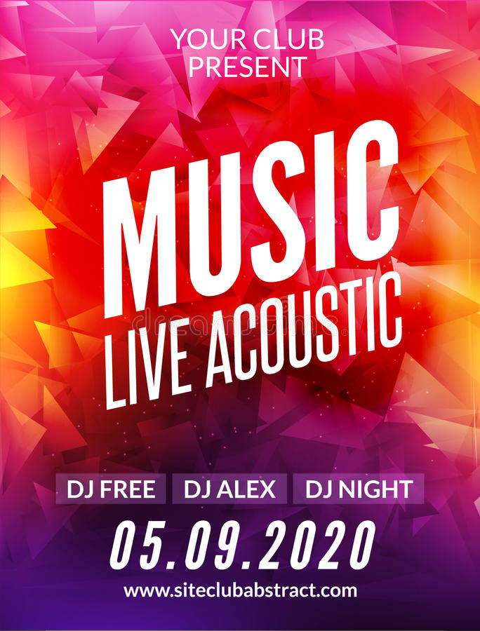 Download Live Music Acoustic Poster Design Temple Show Modern Party Dj Invitation Flyer Stock