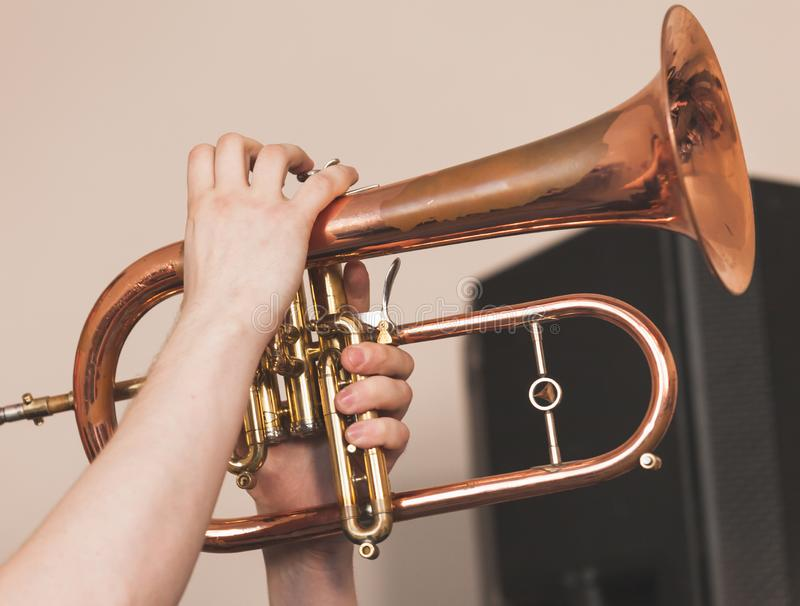 Live music background, flugel horn royalty free stock image