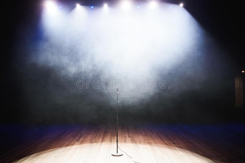 Live music background. Microphone and stage lights.Sing and karaoke. Live music background.Microphone and stage lights.Sing and karaoke stock photography