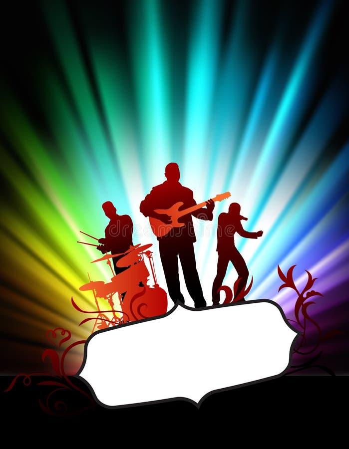 Live Music Band sur le cadre tropical abstrait avec le spectre illustration de vecteur