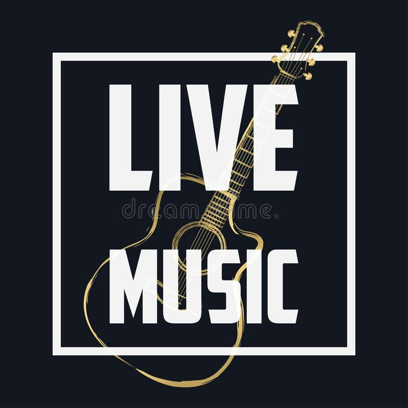 Live Music Banner, Concert Poster With Frame And Guitar. Musical ...