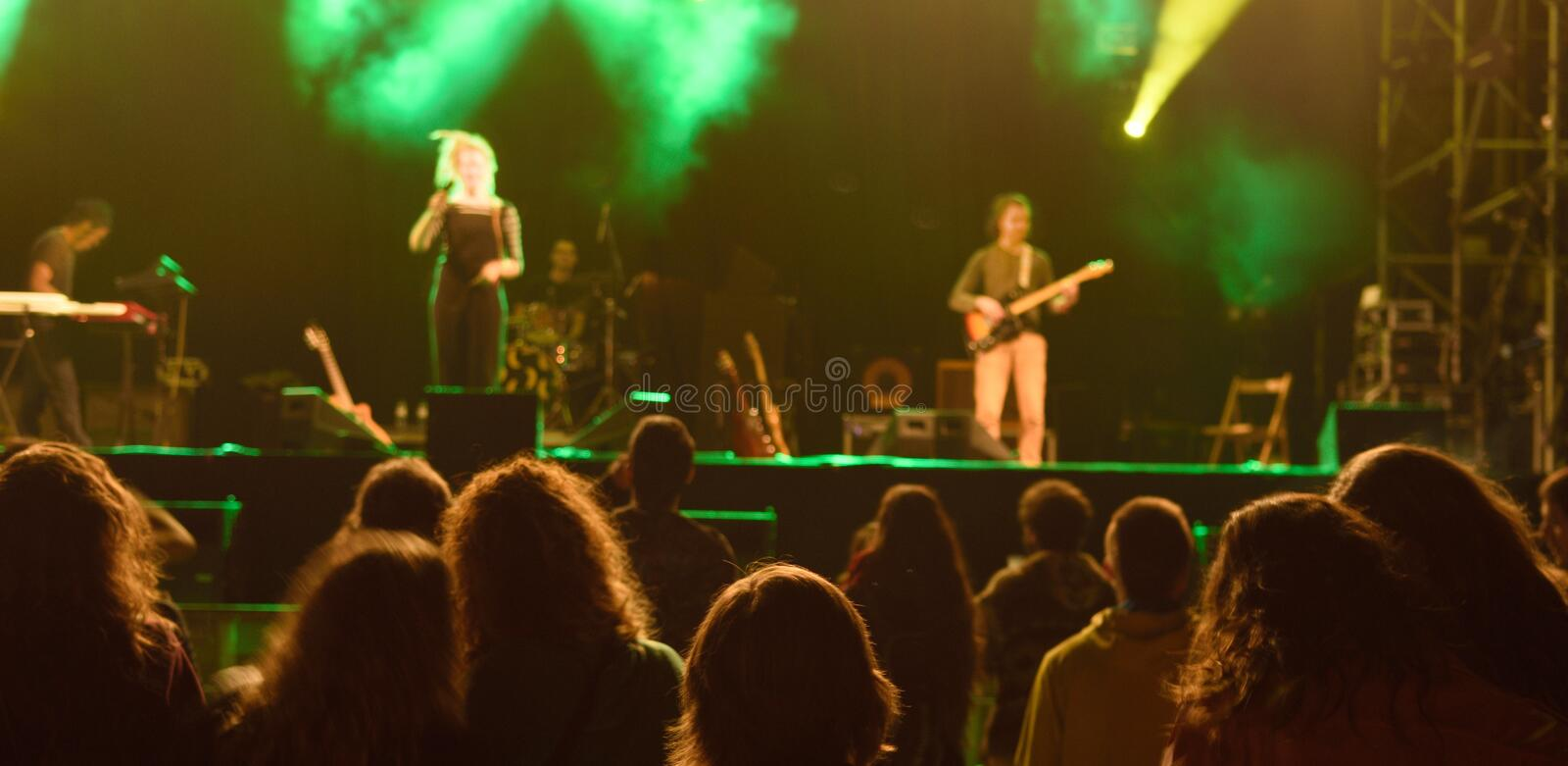 Live music concert at night. Color stock photo