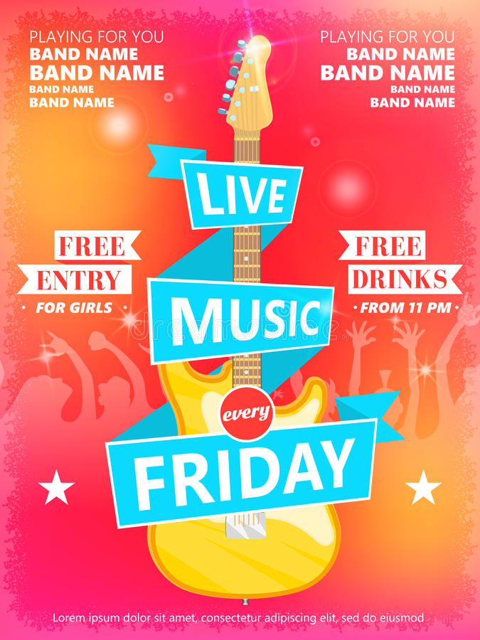 Live Music Every Friday vector poster template. Ideal for printable concert promotion in clubs, bars, pubs and public vector illustration