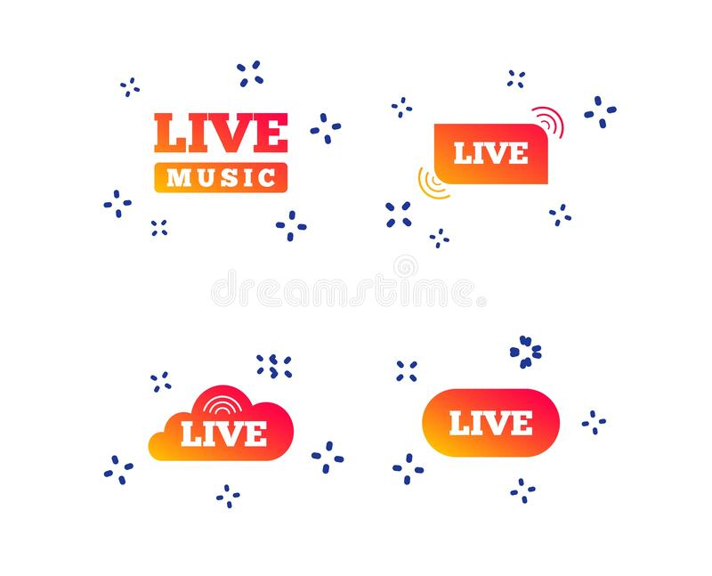 Live music icons. Karaoke or On air stream. Vector royalty free illustration