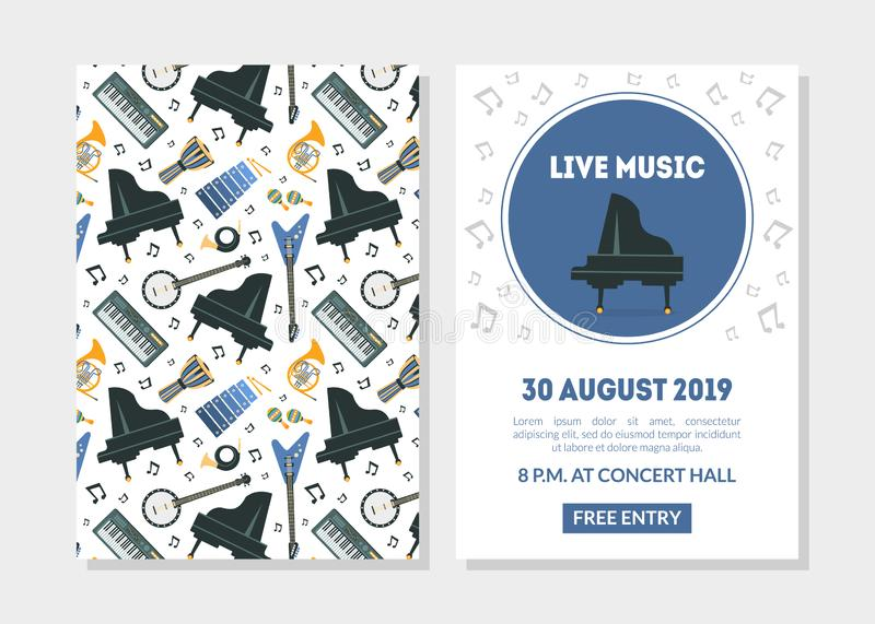 Live Music Landing Page Template with Different Music Instruments Seamless Pattern, Invitation Card, Poster, Leaflet stock illustration