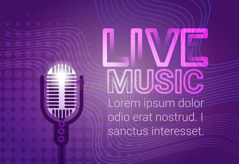 Live Music Microphone Banner Colorful Pop Art Style Modern Musical Concert Poster. Flat Vector Illustration vector illustration