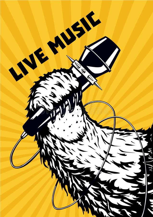 Live music. Animal paw with microphone. Musical poster background for hip-hop party. Tattoo style vector illustration. Live music. Musical poster background for royalty free illustration