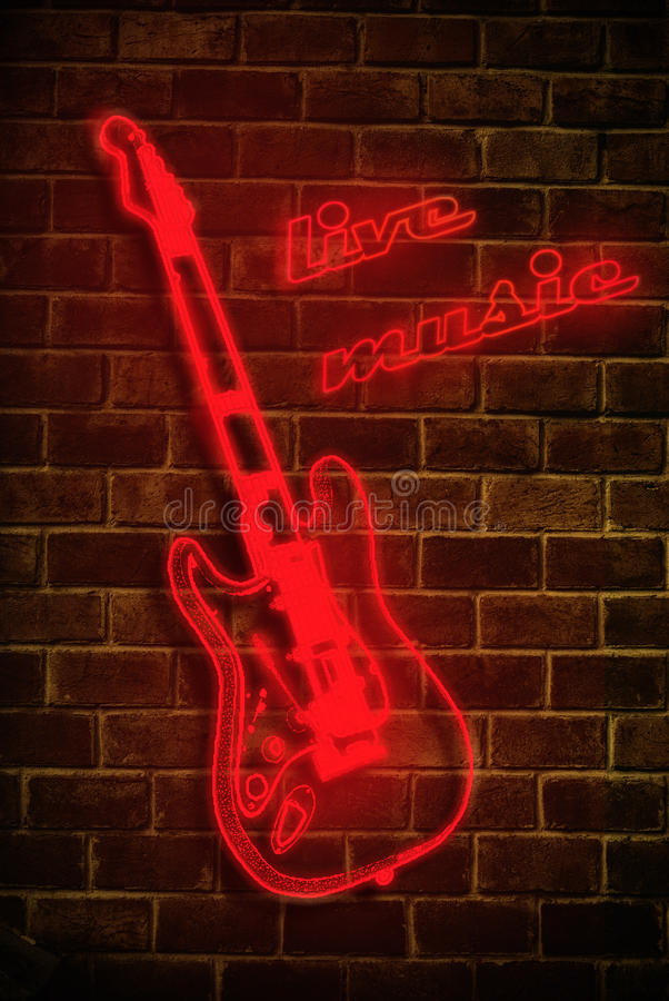Live music neon sign stock illustration