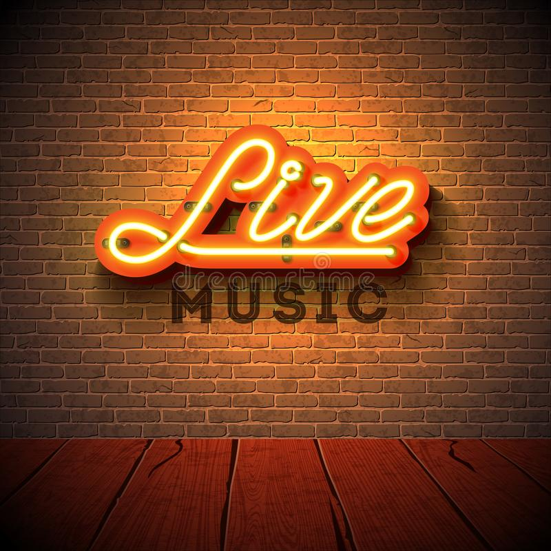 Live music neon sign with 3d signboard letter on brick wall background. Design template for decoration, cover, flyer or. Promotional party poster royalty free illustration