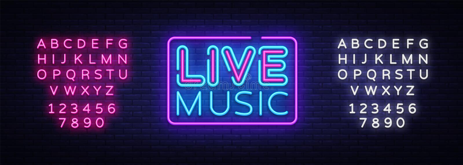 Live Music neon sign vector. Live Music design template neon sign, light banner, neon signboard, nightly bright. Advertising, light inscription. Vector vector illustration