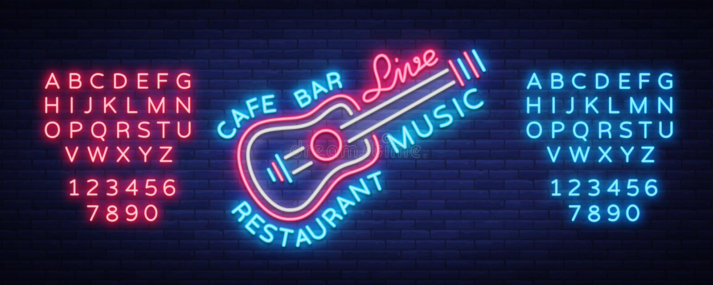 Live music neon sign vector, poster, emblem for live music festival, music bars, karaoke, night clubs. Template for vector illustration