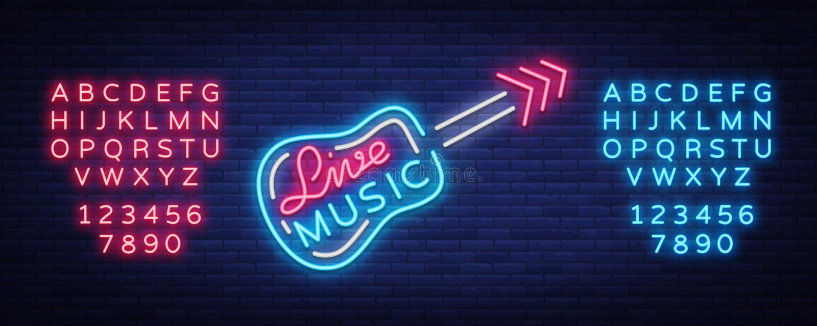 Live music neon sign vector, poster, emblem for live music festival, music bars, karaoke, night clubs. Template for vector illustration