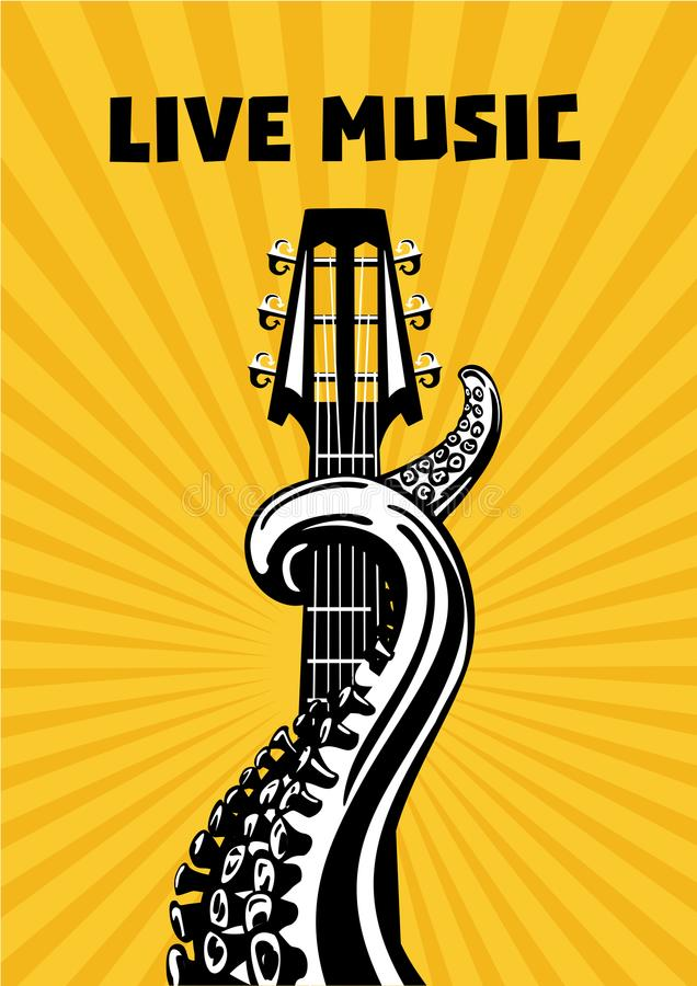 Live music. Octopus tentacles with guitar. Musical poster background for concert. Tattoo style vector illustration. stock illustration