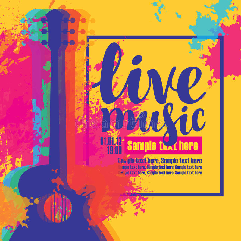 Live music poster with multicolor acoustic guitars. Vector poster with multicolor acoustic guitars, bright abstract spots, the inscription live music and place stock illustration