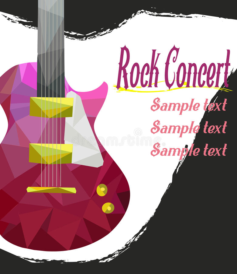Live music poster template. Rock concert with guitar, royalty free illustration