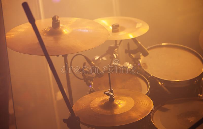 Live music, rock band drum set. Live music photo, rock band drum set with cymbals royalty free stock photography