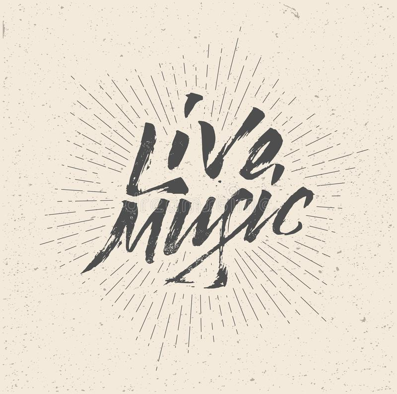 Live Music Sign, Badge, Logo, Poster, Flyer. Vintage hand written styled vector illustration royalty free illustration