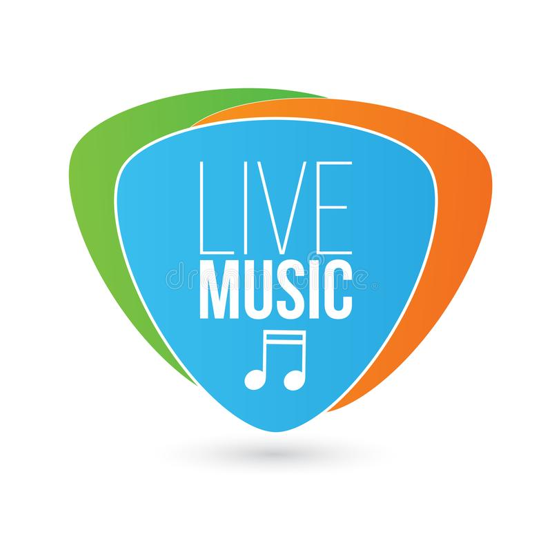 Live Music sign with note on Guitar Pick, colorfull Vector illustration isolated on white background. vector illustration