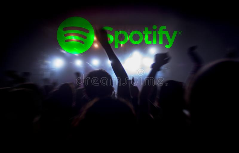 Spotify live music concert streaming stock photo