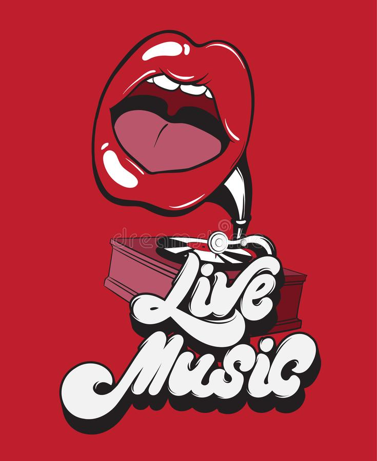 Live music. Vector handwritten lettering with surreal gramophone with mouth. Template for card, poster, banner, print for t-shirt, label, pin and badge stock illustration