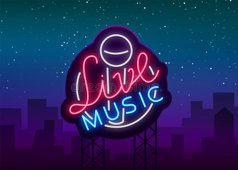 Live musical neon sign, logo, emblem, symbol poster with microphone. illustration. Neon bright sign, Nightlife club royalty free illustration