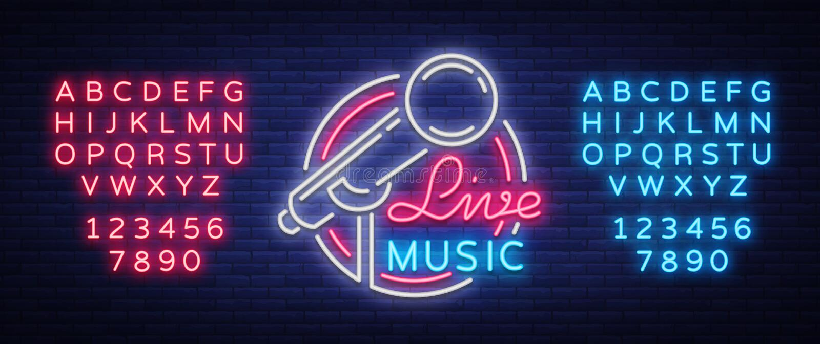 Live musical vector neon logo, sign, emblem, symbol poster with microphone. Bright banner poster, neon bright sign. Nightlife club advertising, karaoke, bar stock illustration