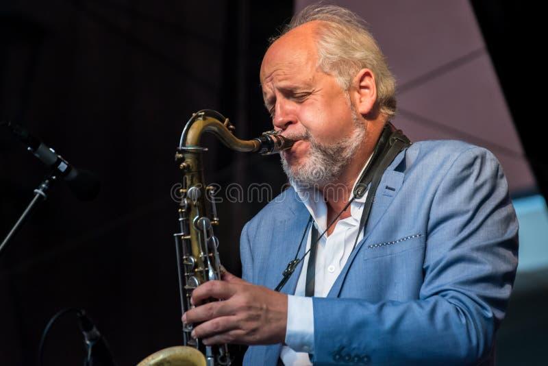 Live Musik der Band Alexandrina Simeon Quintett auf dem Jazz Festival in Regensburg stockbilder