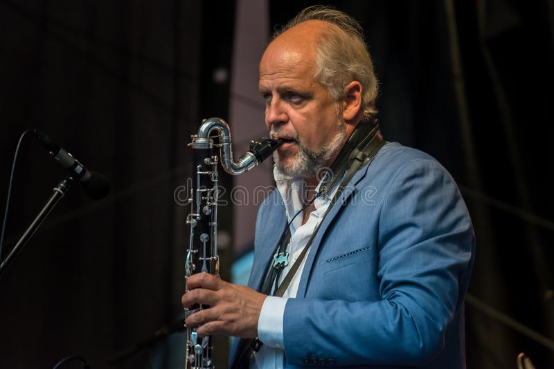Live Musik der Band Alexandrina Simeon Quintett auf dem Jazz Festival in Regensburg lizenzfreies stockbild