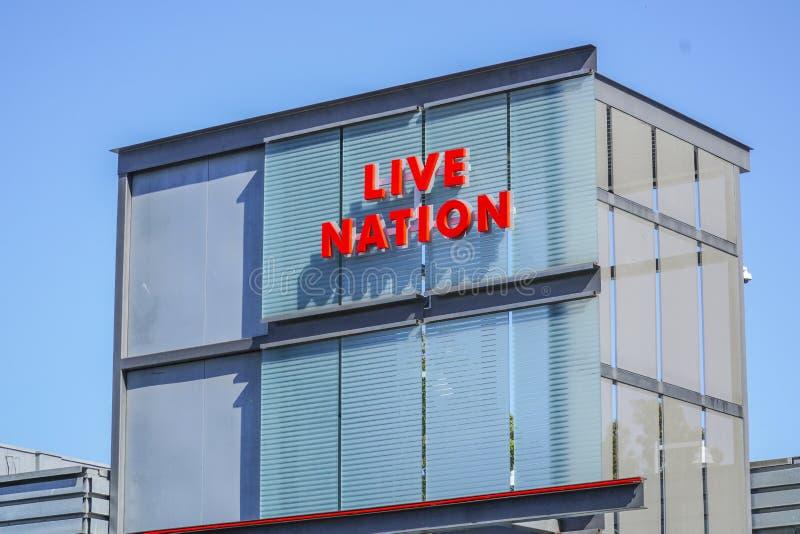 Live Nation i Beverly Hills - LOS ANGELES - KALIFORNIEN - APRIL 20, 2017 arkivfoto