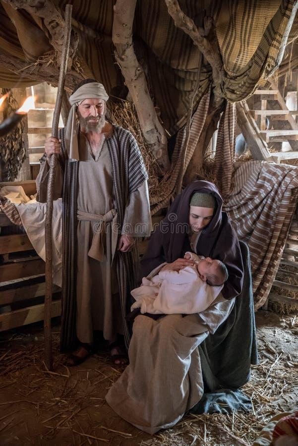 Live Nativity Scene i Gozo, Malta royaltyfri fotografi