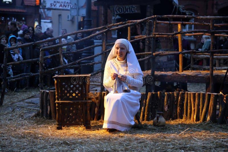 Live Nativity Scene i Zagreb arkivbilder