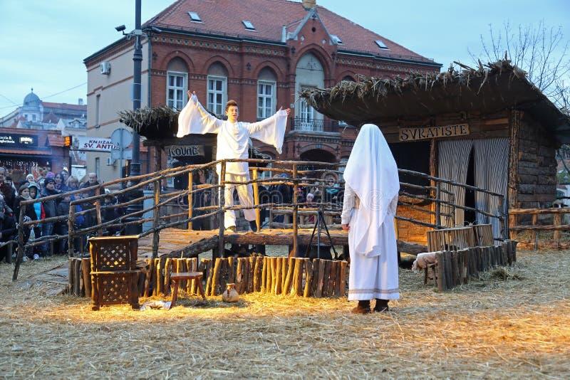 Live Nativity Scene i Zagreb fotografering för bildbyråer