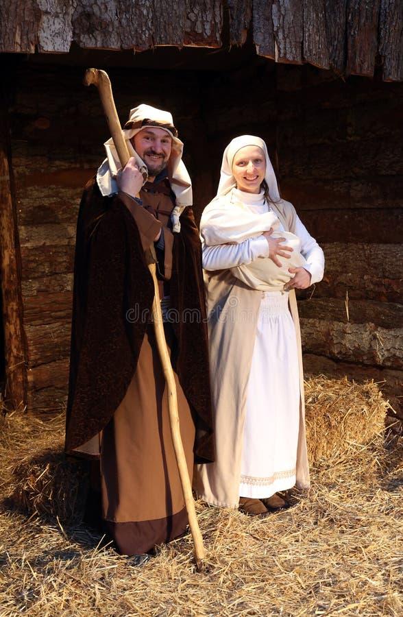 Live Nativity Scene i Zagreb arkivfoton