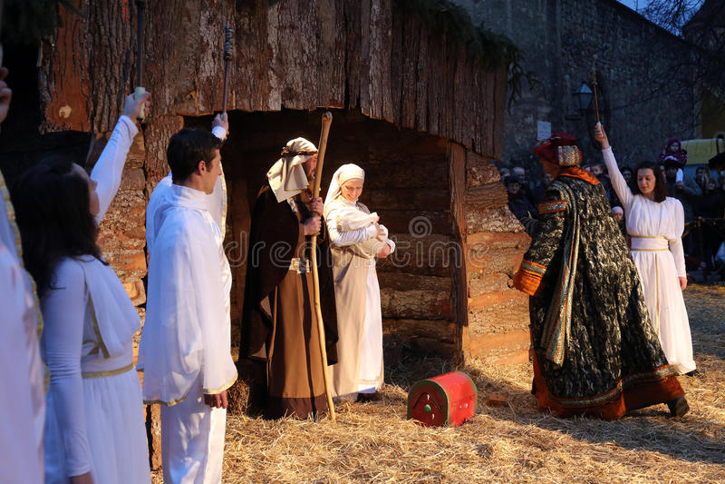 Live Nativity Scene i Zagreb arkivbild