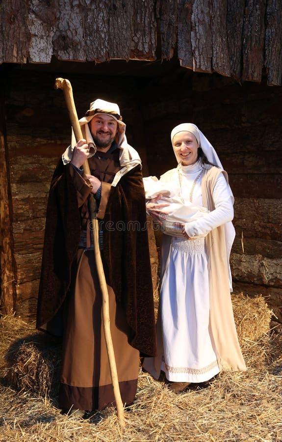 Live Nativity Scene i Zagreb arkivfoto
