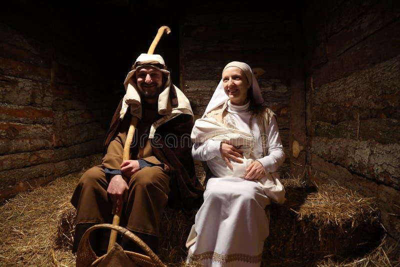 Live Nativity Scene i Zagreb royaltyfria bilder