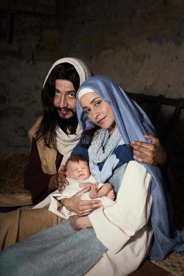 Live nativity scene in the manger stock image