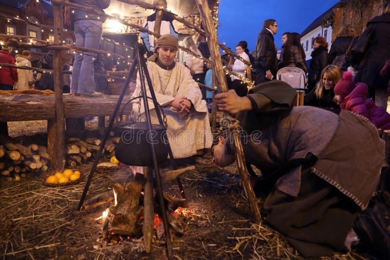 Live Nativity Scene in Zagreb stockfoto