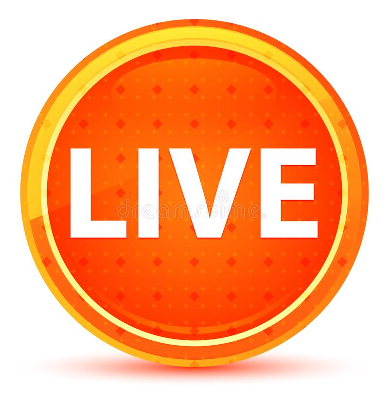 Live Natural Orange Round Button ilustração royalty free
